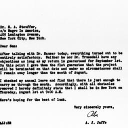 Letter from A.J. Jaffe to S...