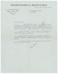 Letter from Colonel W. de Basil to Prince Alexander Shervashidze