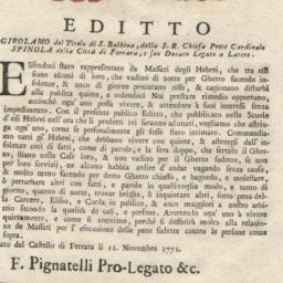 Editto Girolamo del Titolo ...