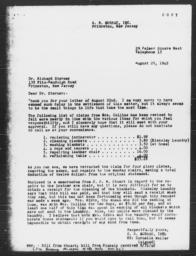 Copy of Letter from Cornelia Weller to Richard Sterner, August 28, 1942