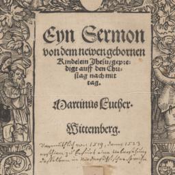 Eyn     Sermon von dem newe...