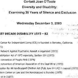 Handouts, 2003-12-03. Disab...