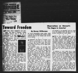 Article by Doxey A. Wilkerson on Maxwell Stewart's pamphlet summarizing the findings of AN AMERICAN DILEMMA, DAILY WORKER, August 4, 1944
