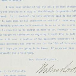 Typed letter, signed, to He...