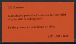 Bill Harrison individual prescribed exercises, undated : business card