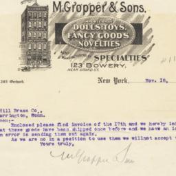 M. Gropper & Sons. Letter