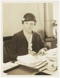 Frances Perkins with Pen and Papers