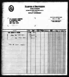 Royalty statement from Harper & Brothers to Richard Sterner for THE NEGRO'S SHARE, December 31, 1950