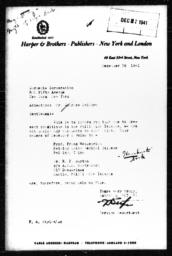 Letter from F.H. Styles of Harper & Brothers to Charles Dollard, December 26, 1941