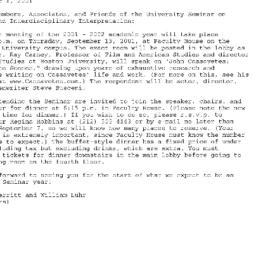 Announcements, 2001-09-13. ...