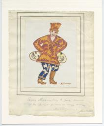 Costume drawing by Mikhail Larionov sent to Simon Lissim