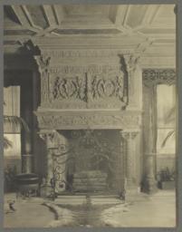 Details of mantel, dais. Main hall, East side between windows on Lexington Avenue