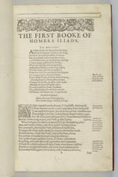 Folio B1r. The First Booke of Homer's Iliads