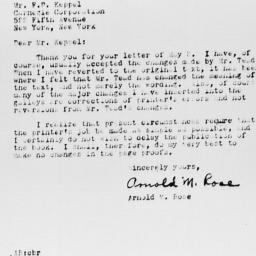 Letter from Arnold M. Rose ...