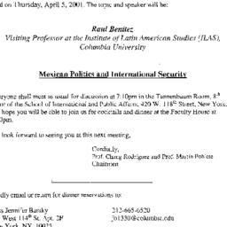 Announcements, 2001-04-05. ...