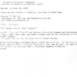 Announcements, 2008-10-20. ...