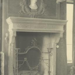 Detail of mantel, West end ...