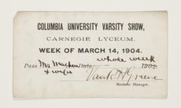 Ticket for Varsity Show
