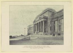 Central pavilion, front portico and front steps of the central museum of the Brooklyn Institute of Arts and Sciences (from photograph taken in 1908)