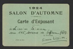 1924 Salon d'Automne Carte d'Exposant