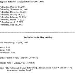 Announcements, 2001-05-16. ...