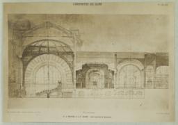 Coupe Longitudinale. A.-A. Marcel & L. P. Blanc. -- Gare centrale de Bucharest
