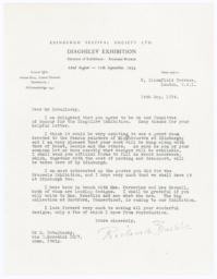 Typed letter from Richard Buckle to M. Dobujinsky