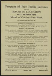 Program of Free Public Lectures of the Board of Education, 1-8 October 1927 : broadside