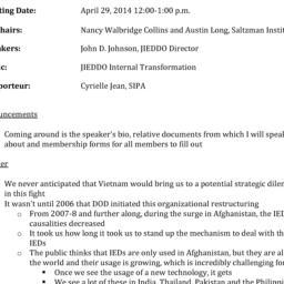 Minutes, 2014-04-29. Defens...