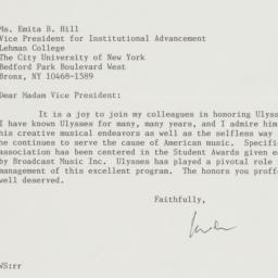 Letter from William Schuman...