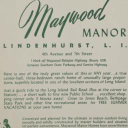 Maywood Manor, 4 Avenue And...