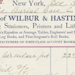 Wilbur & Hastings, bill or ...