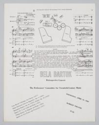 Performers' Committee for Twentieth-Century Music, Program for Béla Bartók Retrospective Concert, April 16, 1969