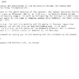 Announcements, 2002-05-02. ...