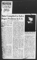 """Article by Harvey Curtis Webster, """"Data Compiled to Solve Negro Problem In U.S.,"""" LOUISVILLE COURIER-JOURNAL, April 16, 1944"""