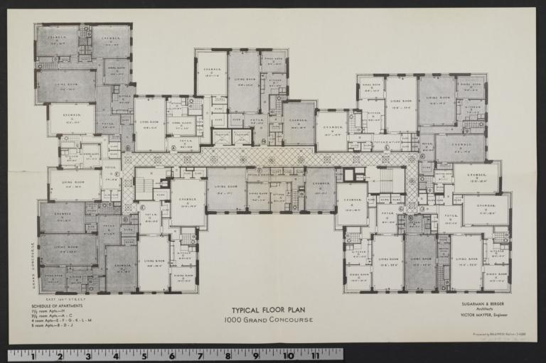 1000 Grand Concourse Typical Floor Plan The New York Real Estate Brochure Collection