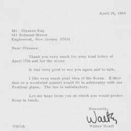 Letter from Walter Hendl to...