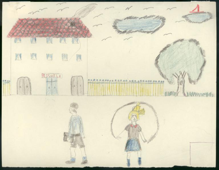 I Have Drawn A School And Two Children Going To Girl Boy The Is Jumping Carrying His Schoolbag