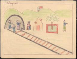 This drawing shows all our household arriving in Cerbère and then [...] a house and the border guard in front standing guard.
