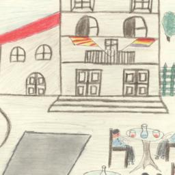 This Drawing Shows A Cafe W...