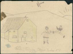 Boy And Girl Playing Outside A Country House With A Plane Overhead