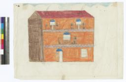 Depicts Orange House With Red Roof