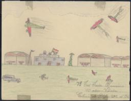 Green And Red (panzers) Bombing An Airport With The Republican Flag Flying On It