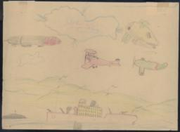 Two Blimps Flying Over A Green Plane (panzer), Pursuing A Red (mosca) One, And A Ship Below