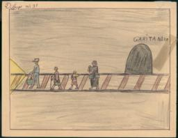 This Drawing Shows My Father And My Mother And My Brothers And I When We Go Through The Tunnel To Cerbère.