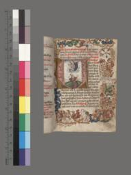 f. 1, Vision of the Virgin and Child; putti and flowers in the border decoration