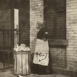 Woman near Trashcan