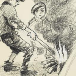Two Boys Making Fire