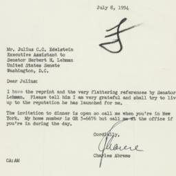 Letter: 1954 July 8