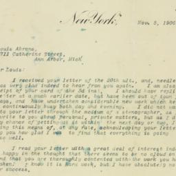 Letter : 1906 November 5